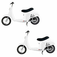 Razor Pocket Mod Miniature Euro 24 Volt Electric Retro Scooter, White (2 Pack)