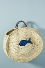 NWT Anthropologie Painted Fish Straw Tote Bag by Maud Fourier Paris