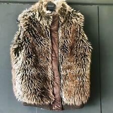 Faux Fur Gilet Size 10 Fluffy Winter Warm Jacket Suede Waistcoat Soft Chilli