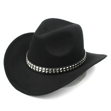 Women Men Western Cowboy Hats Wide Brim Cowgirl Jazz Cap Punk Rivet Leather Band