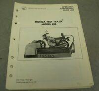 Honda Test Track Model KO Operation Manual Maintenance Guide Parts List Diagram