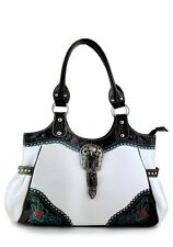 White Designer Rhinestone Inspired Faux Leather Western Handbag Purse