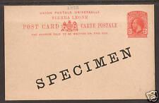 Sierra Leone H&G 15 mint 1912 SPECIMEN Postal Card 1;0