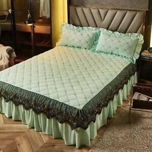 Luxury Thicken Plush Quilted Bed Skirt Cover Soft Velvet Embroidery Bedspread