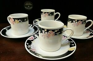 Set of 4 Fine Porcelain Espresso Cups w/Matching Saucers, White/Black & Flowers