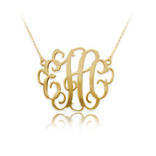 1.5 Inch Monogram Necklace in 18k Gold Plated Sterling Silver (USA Seller)