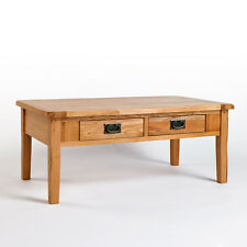 Rustic Oak Coffee Table with Drawers | Solid Light Oak Furniture CB08