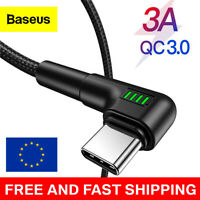 Baseus 90 Degree USB C Cable For Samsung Xiaomi Redmi Note 10 3A Fast Charge