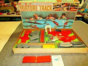 Ideal 1966 Motorific Giant Detroit Torture Track Slot Car Road Race Set Toy Lot