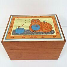 New listing Taylor & Ng Kitty Katfish Recipe Card Holder Box Tile Top Wooden 1982
