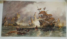 David Law - Large Antique Hand Coloured Etching - Decisive Action Armada