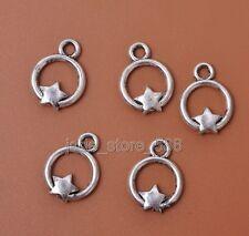 25pcs Tibetan Silver charm Circle the star pendant fit necklace bracelet Pendant