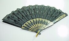 "womens Vintage Spanish Black Sequin Lace Gold Plastic Folding Hand Fan 9"""