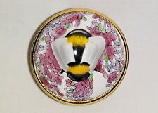 "Halcyon Days Enamels, Bas Relief Trinket Box, ""Honeybee On Sweet Lavender"""