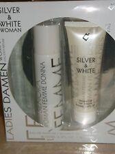 Silver & White Woman Gift Set 3.3oz Eau De Parfum & 3.3oz Shower Gel-New!