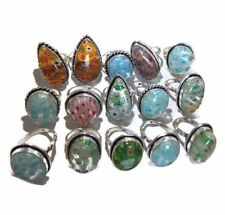 Bulk Lot !! 50 PCs. Aqua Dichroic Glass 925 Sterling Silver Plated Ring Jewelry