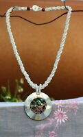 """Really beautiful Mother of pearl inlay pendant white glass bead 18"""" NECKLACE"""