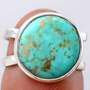Natural Rare Turquoise Nevada Aztec Mt 925 Sterling Silver Ring s.7 Jewelry 7398