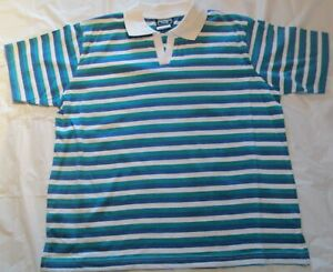 Women Golf Shirt XL Green-Blue Color Stripe style 60/40 Cotton/Polyester Import