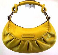 BCBG Max Azria Women's Shoulder Hobo Bag Purse Yellow Faux Leather Medium