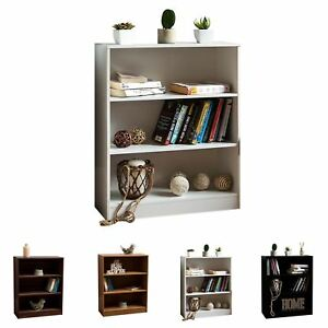 Cambridge 3 Tier Low Bookcase Display Shelving Storage Unit Wood Stand Shelves