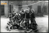 school girls in gym dress, sport, volleyball, Vintage Photograph, 1960' Hungary