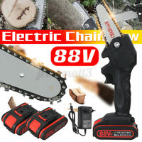 88V 1080W Electric Cordless Chain Saw Wood Cutter Mini One-Hand Saw Woodworking