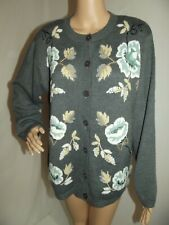 ALFRED DUNNER Large Gray Floral Embroidered Cardigan Sweater granny L wool bead