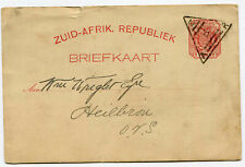 Transvaal 1896 1d stationery card ZAR/5 in triangle
