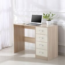 Cream/Oak High Gloss 4 Drawer Dressing Table Vanity Computer Study Desk