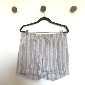 Talbots Womens Shorts Size 8 Tan Linen Cotton Tie-Waist Pockets Casual Stretch