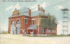 Main Street Engine House, Dayton, Ohio Fire Department ca 1910s Vintage Postcard