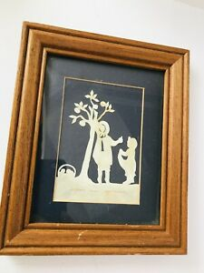 Scherenschnitte Silhouette Vintage Cut Out Art Betty Spooner 1983 Girl & Boy