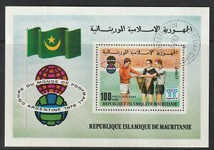 MAURITANIA 1977 FOOTBALL WORLD CUP 78 ARGENTINA MINIATURE SHEET FINE USED