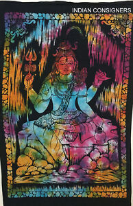 Multi Wonderful Shiv God  Design Picture Small Art Cotton Tapestry Poster Indian