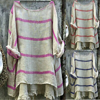 Women's Cotton Linen Stripe Top Blouse Baggy Loose Tunic Shirt Plus Size S-5XL