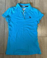 Women's Abercrombie & Fitch T Shirt Blue Medium Stretch Cotton Blend SLIM