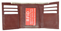 Red RFID Blocking Mens Leather ID 7 Credit Card ID Window Thin Trifold Wallet