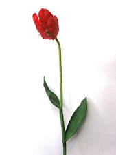 Artificial Red Tulip Floral Stem Artificial Flowers Artificial Leaves Silk