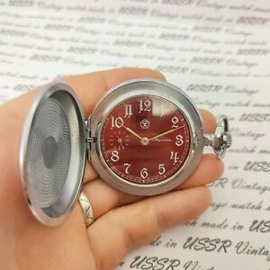 ⭐ VINTAGE soviet pocket watch MOLNIJA MOLNIYA shell made in USSR mechanical 1980