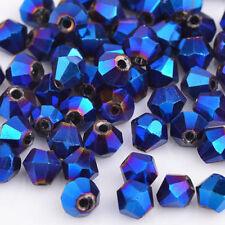 Dark blue AB 100pcs exquisite 4MM 5301#glitter Crystals luster Bicone!