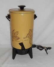 Vintage 22 Cups Mirro-Matic Electric Percolator Harvest Gold Patterned
