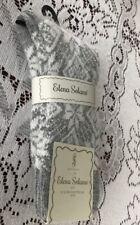Women Elena Solano Luxury Crew Socks 1 Pair One Size Gray Geometric New