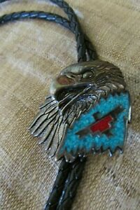 VINTAGE G&S NATIVE AMERICAN RHODIUM PLATED EAGLE TURQUOISE CORAL BLACK BOLO