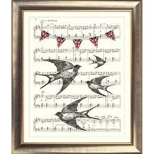 ART PRINT ORIGINAL VINTAGE MUSIC SHEET Page SWALLOWS OLD vintage poster Birds