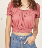 NEw Reformation Crop Top Louie - Size Medium Coral  (Retails for $98)