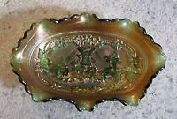 "Imperial Glass Co WINDMILL Carnival Glass 8 5/8"" Oval Pickle Dish"