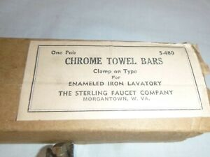 Pr NOS Vtg Sterling Faucet Co. Chrome Clamp On Hexagon Towel Bars Rack Orig Box