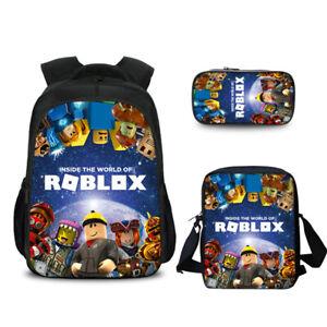 3pcs Kid Roblox Backpack Student Crossbody Bag Pencil Case School Bag Game Theme