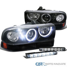98-04 Chevy S10 Halo SMD Projector Black Headlights+Bumper Lamps+6-LED Fog Lamps